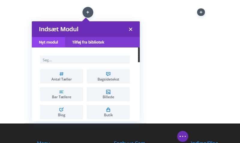 Indsæt og valg af modul i Divi
