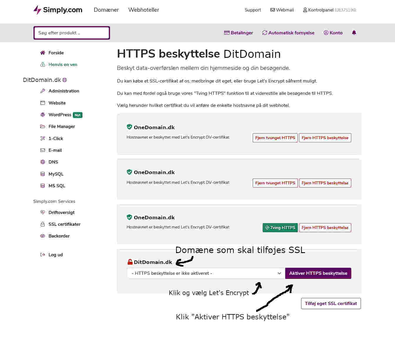 Aktiver HTTPS beskyttelse med SSL Certifikat fra Let's Encrypt
